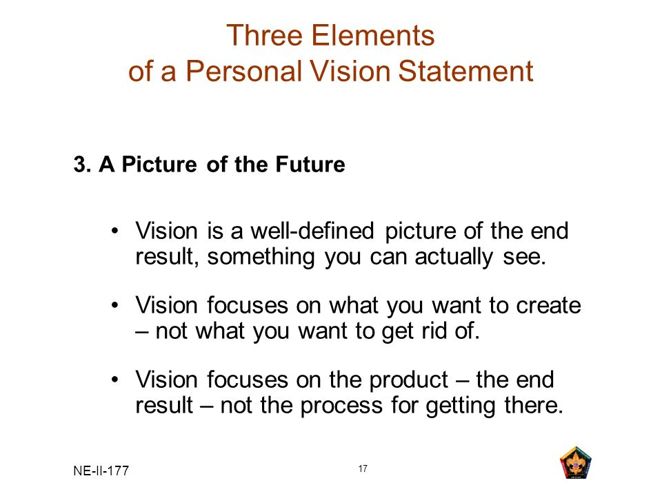 Three Elements of a Personal Vision Statement