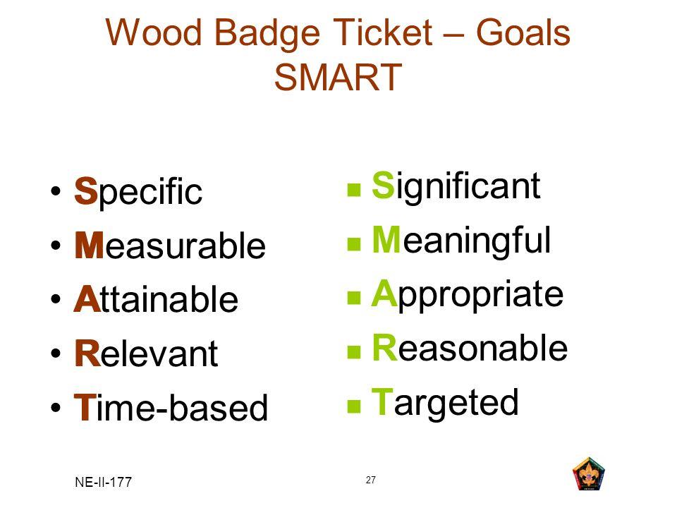 Wood Badge Ticket – Goals SMART