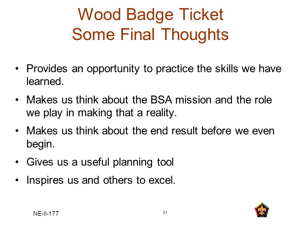 Wood Badge Ticket Some Final Thoughts