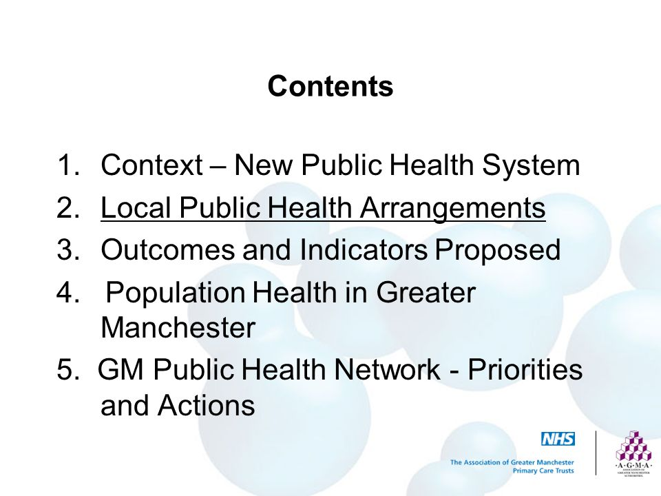 Contents Context – New Public Health System. Local Public Health Arrangements. Outcomes and Indicators Proposed.