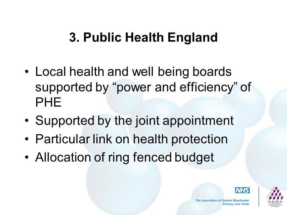 3. Public Health England Local health and well being boards supported by power and efficiency of PHE.