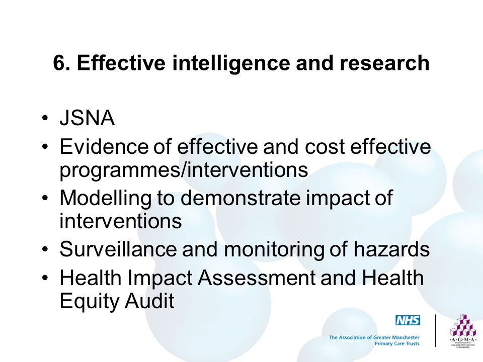 6. Effective intelligence and research
