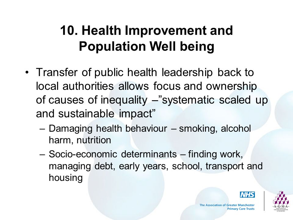 10. Health Improvement and Population Well being