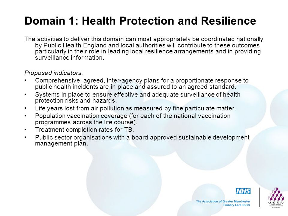 Domain 1: Health Protection and Resilience