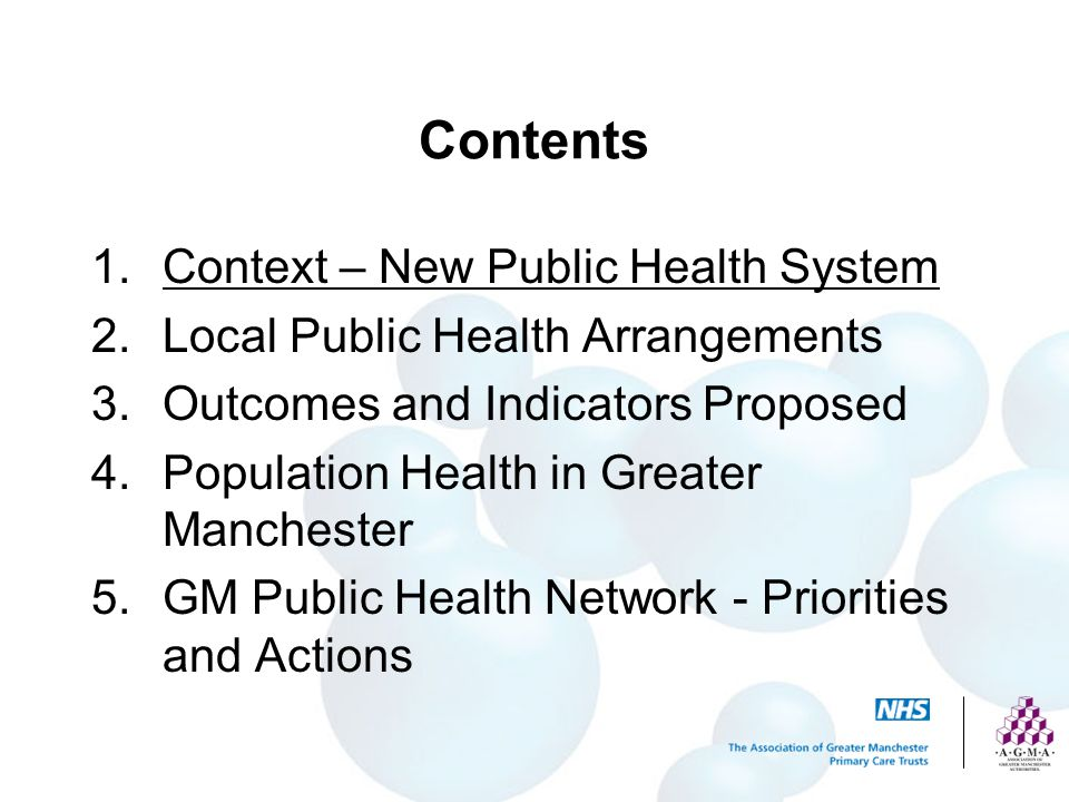 Contents Context – New Public Health System