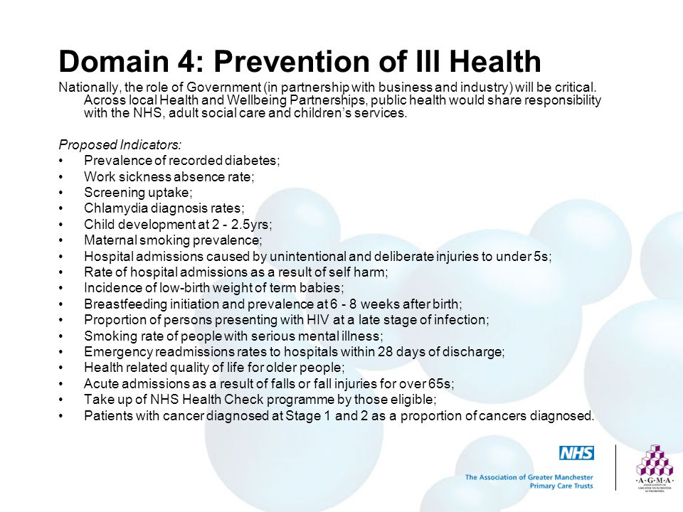 Domain 4: Prevention of Ill Health