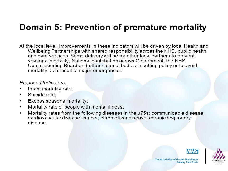 Domain 5: Prevention of premature mortality