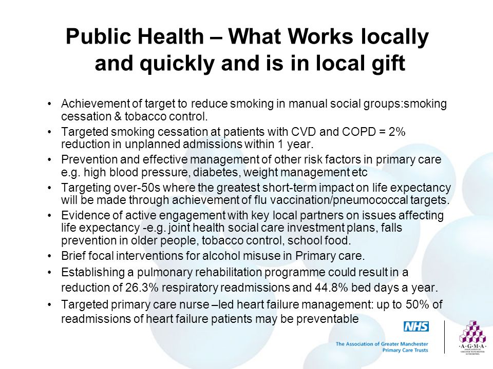 Public Health – What Works locally and quickly and is in local gift