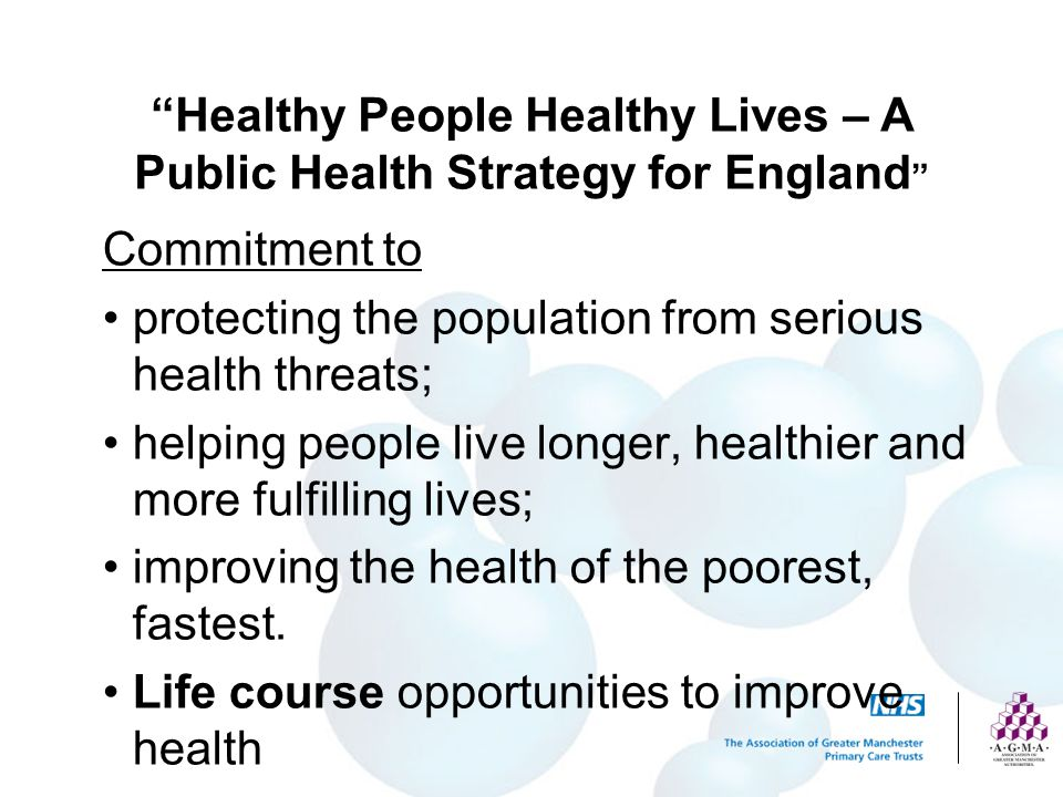 Healthy People Healthy Lives – A Public Health Strategy for England