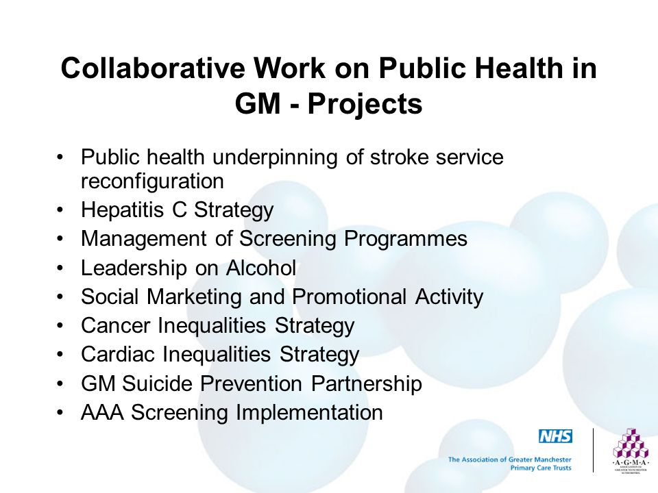 Collaborative Work on Public Health in GM - Projects
