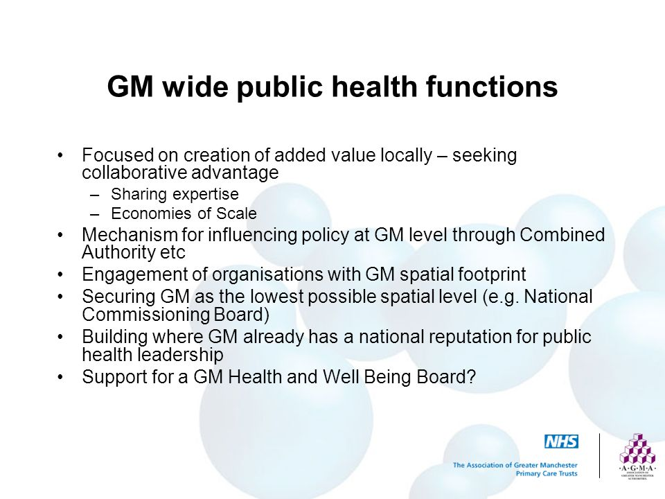 GM wide public health functions