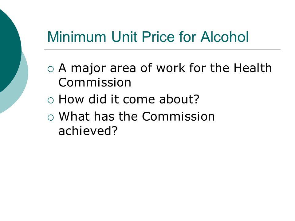 Minimum Unit Price for Alcohol