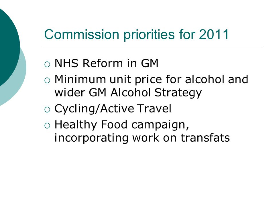 Commission priorities for 2011