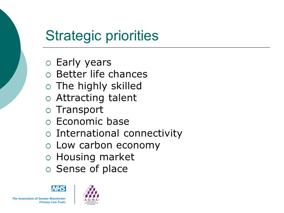 Strategic priorities Early years Better life chances
