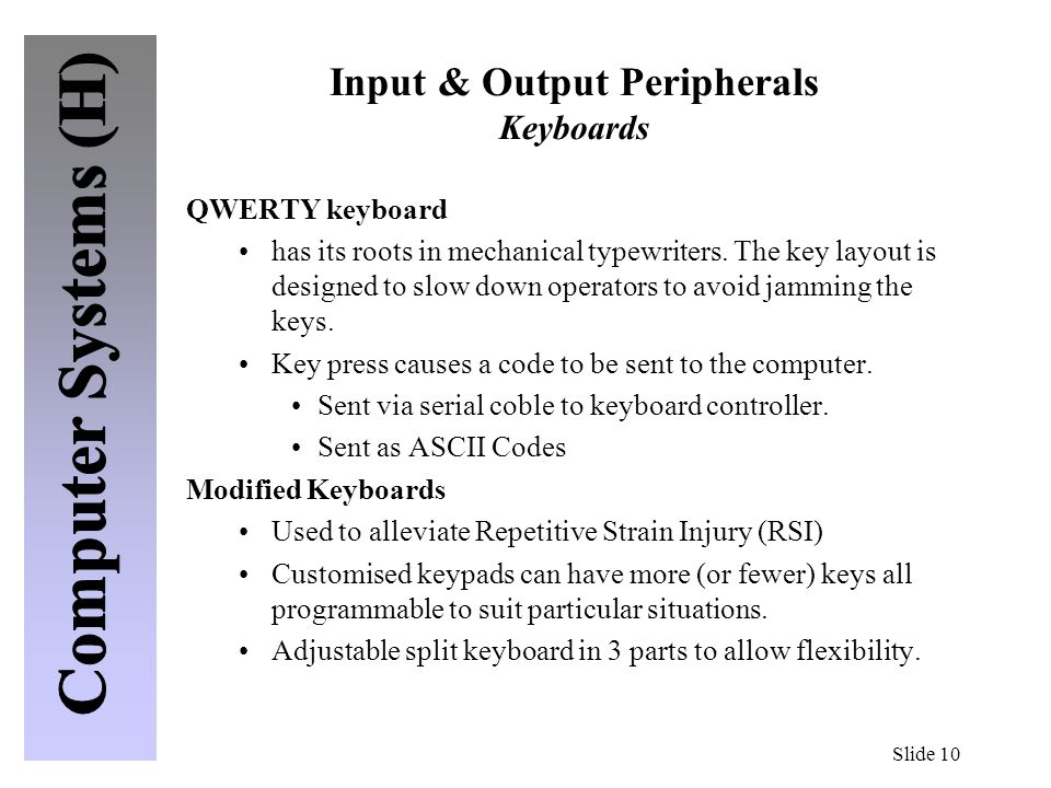Input & Output Peripherals Keyboards