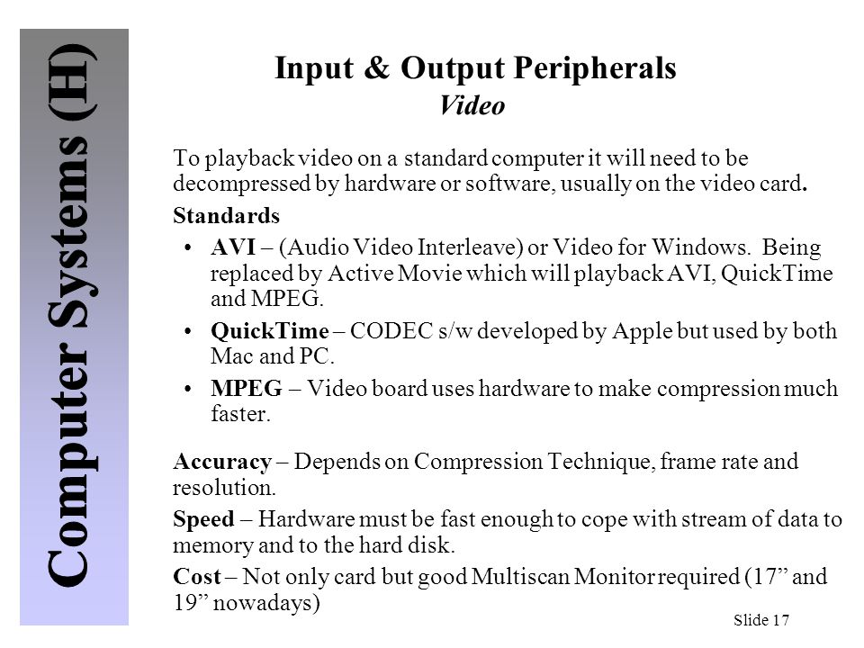 Input & Output Peripherals Video