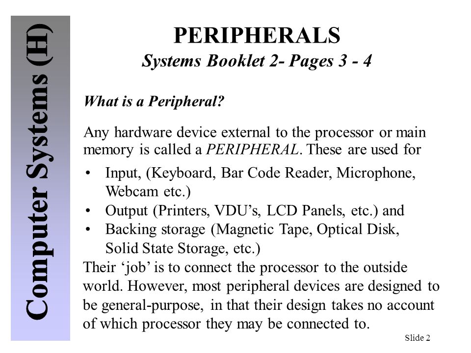 PERIPHERALS Systems Booklet 2- Pages 3 - 4