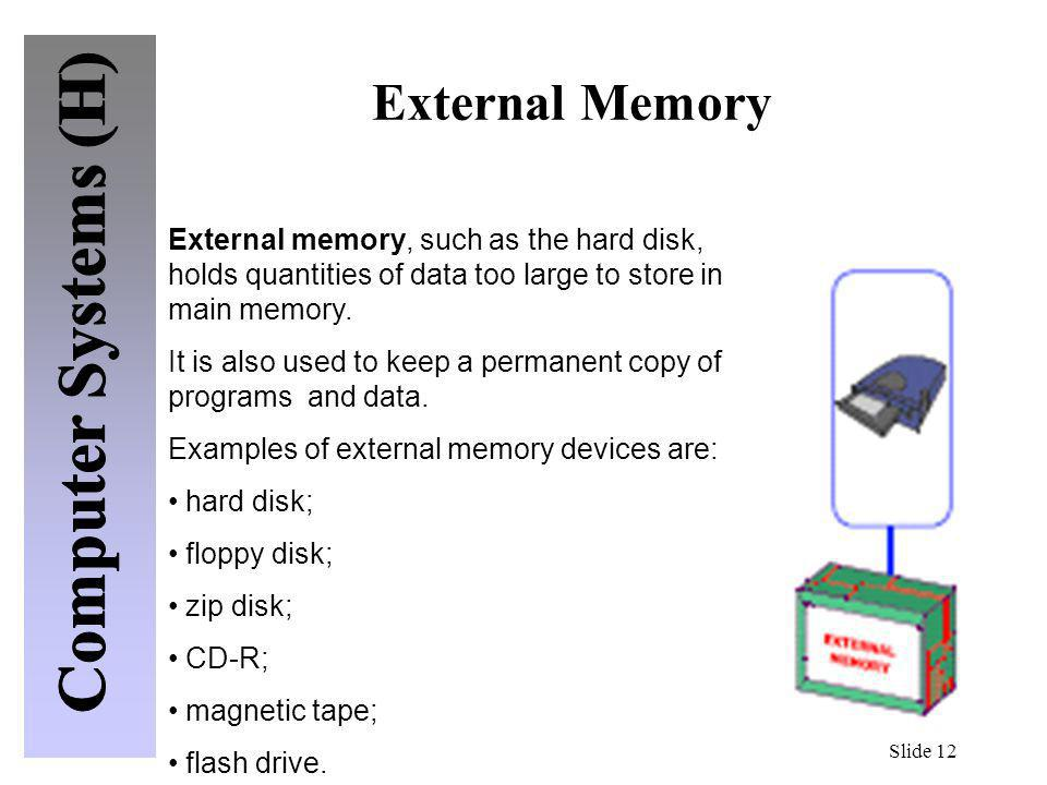 External Memory External memory, such as the hard disk, holds quantities of data too large to store in main memory.