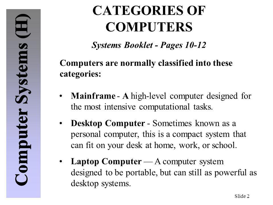 CATEGORIES OF COMPUTERS Systems Booklet - Pages 10-12