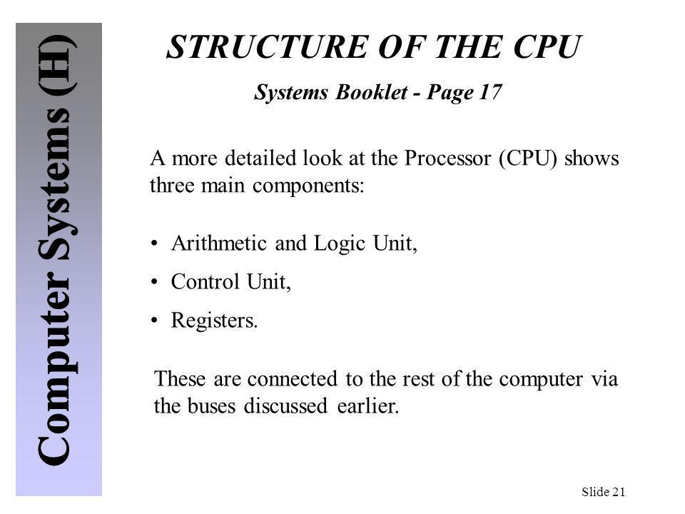 STRUCTURE OF THE CPU Systems Booklet - Page 17