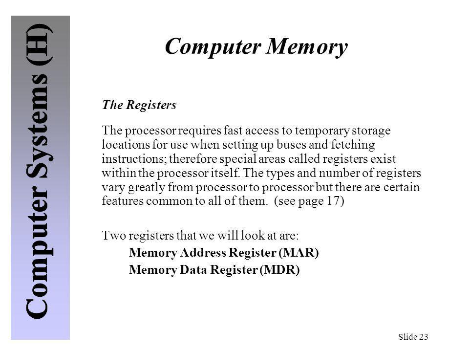Computer Memory The Registers