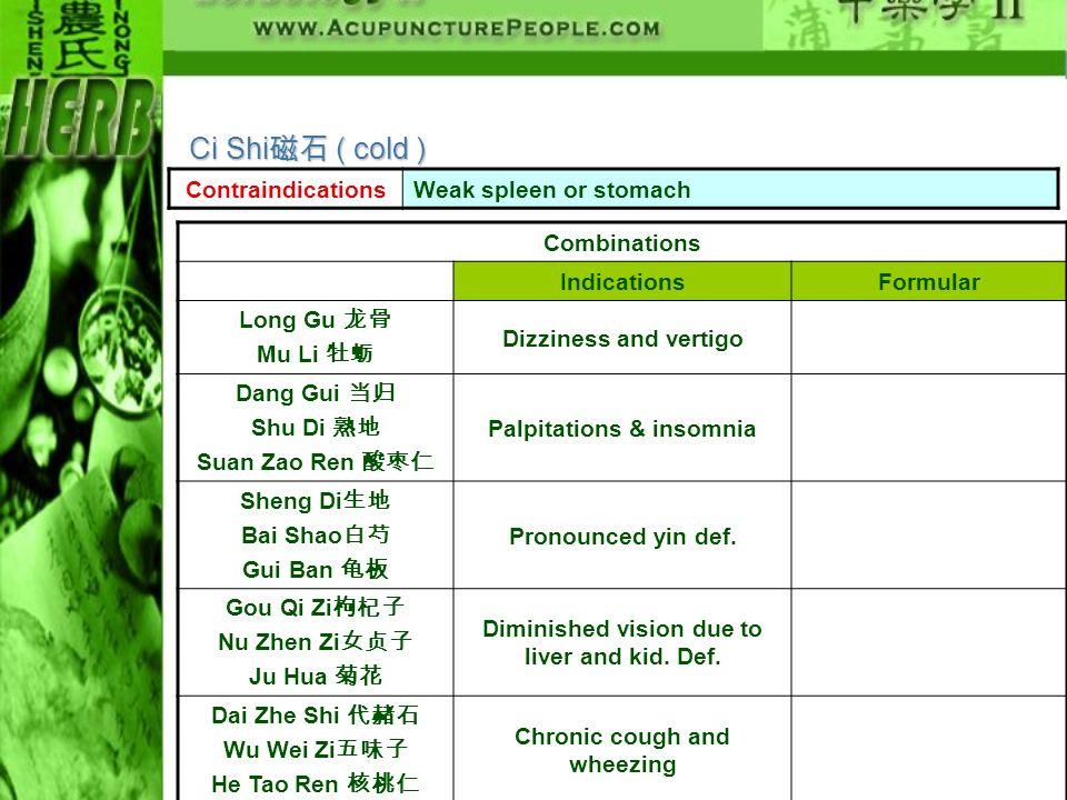 Ci Shi磁石 ( cold ) Contraindications Weak spleen or stomach