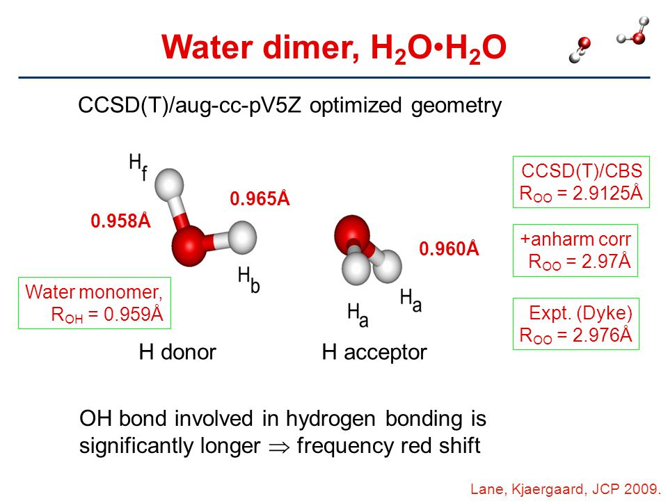 Water dimer, H2O•H2O CCSD(T)/aug-cc-pV5Z optimized geometry H donor