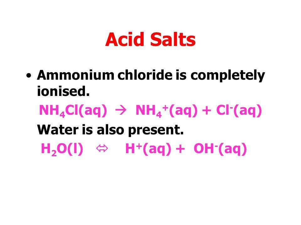 NH4Cl(aq)  NH4+(aq) + Cl-(aq)