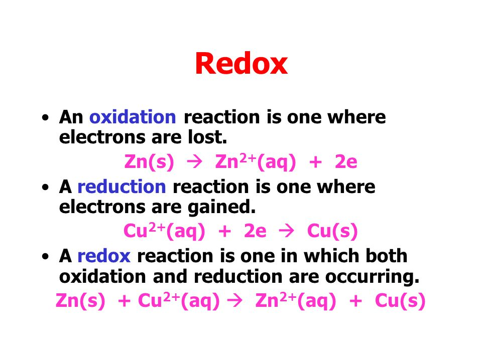 Zn(s) + Cu2+(aq)  Zn2+(aq) + Cu(s)