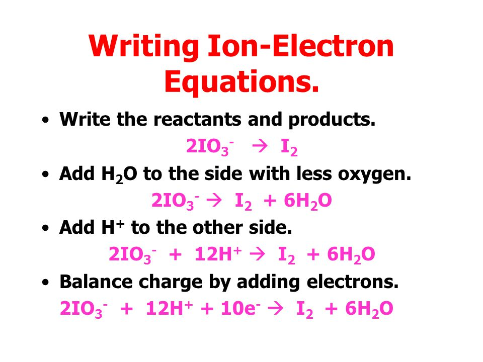Writing Ion-Electron Equations.