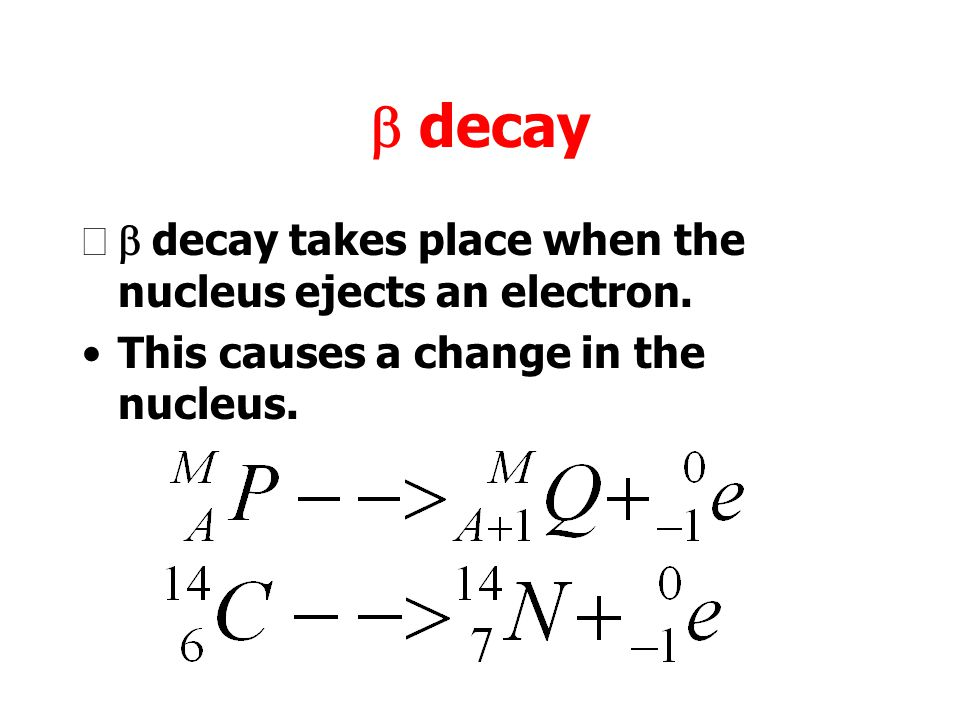 b decay b decay takes place when the nucleus ejects an electron.