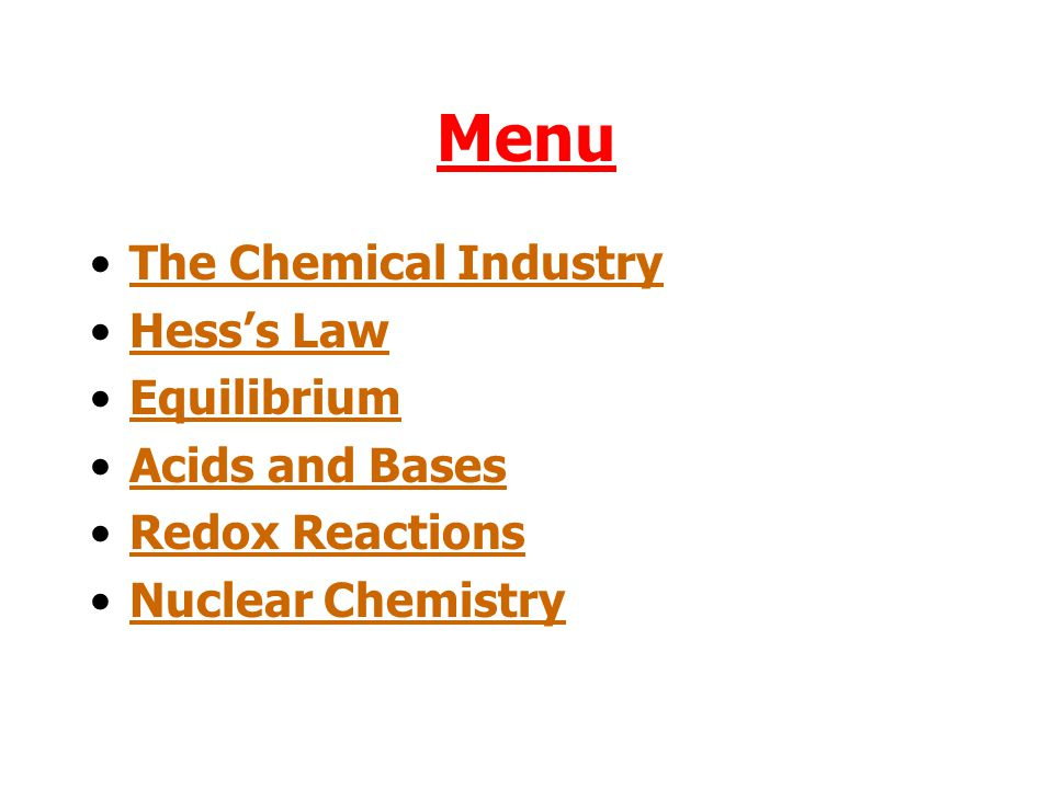 Menu The Chemical Industry Hess's Law Equilibrium Acids and Bases