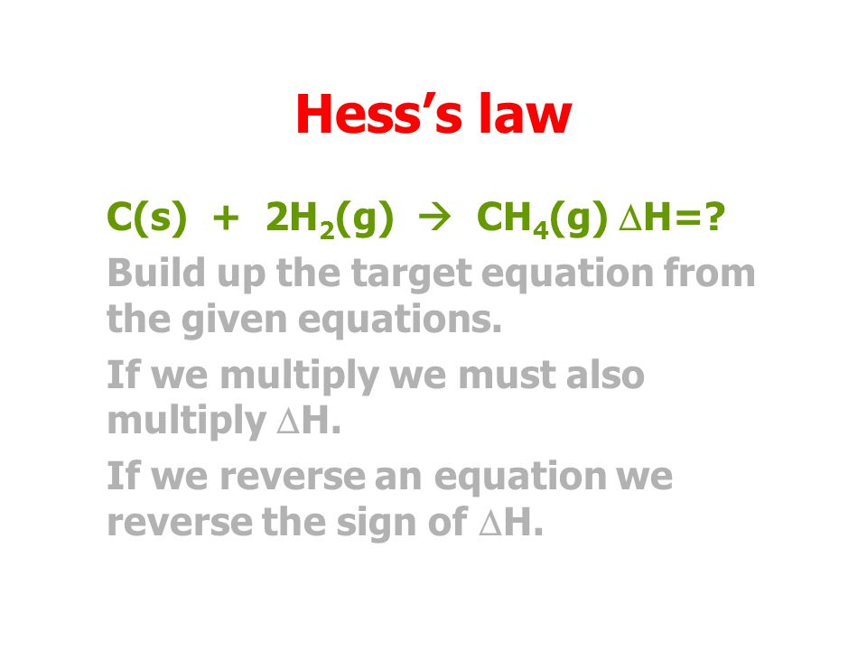 Hess's law C(s) + 2H2(g)  CH4(g) DH=