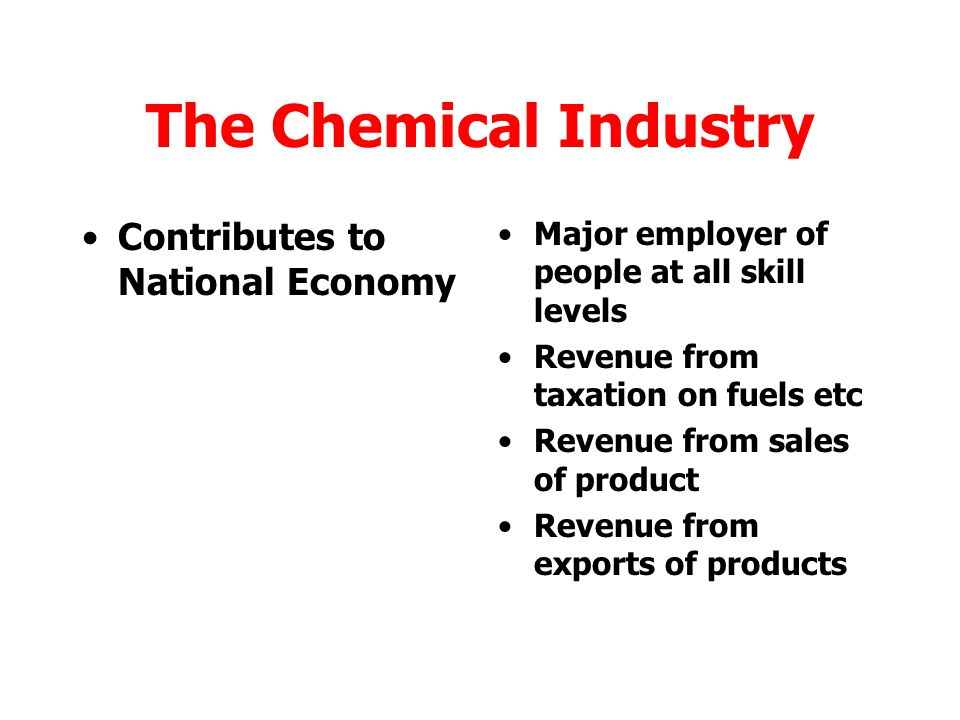 The Chemical Industry Contributes to National Economy