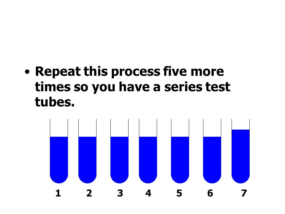 Repeat this process five more times so you have a series test tubes.