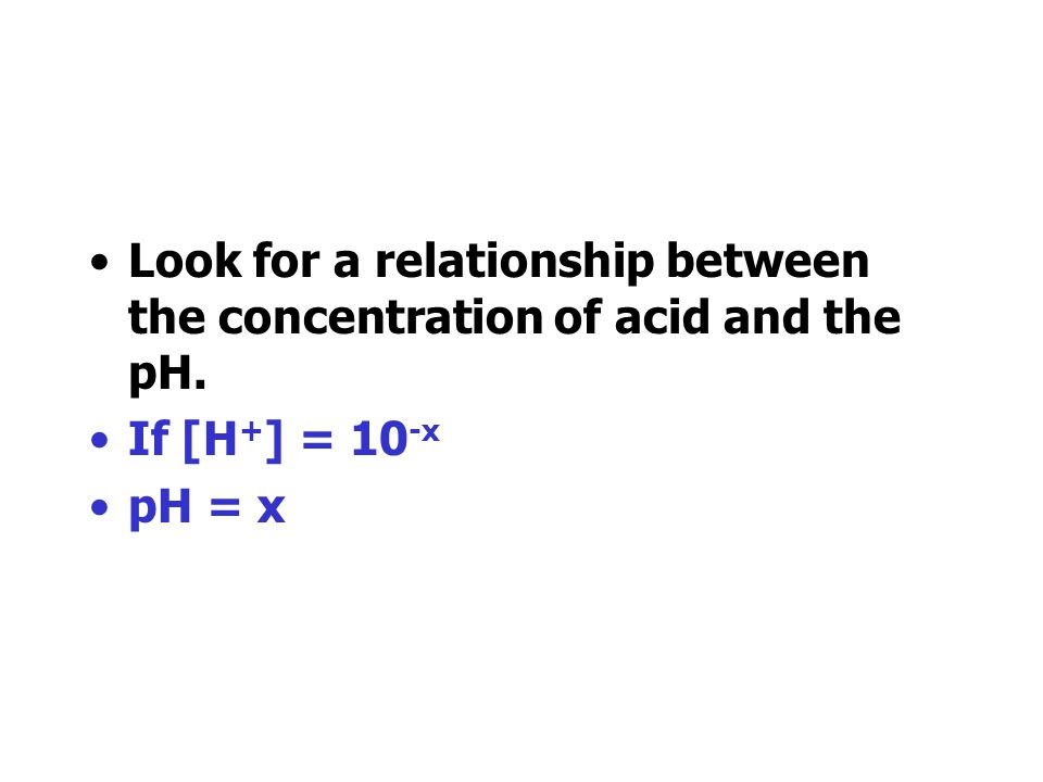 Look for a relationship between the concentration of acid and the pH.