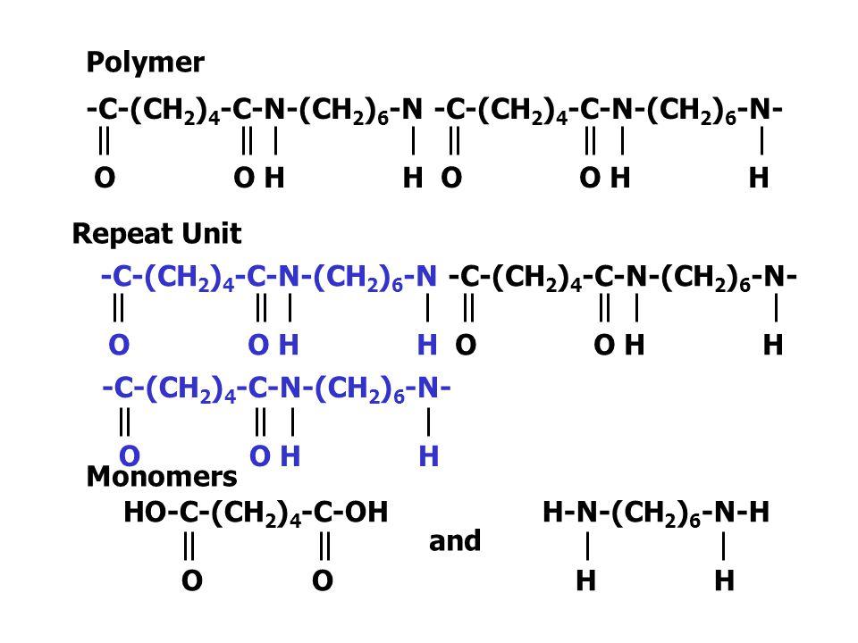 Polymer -C-(CH2)4-C-N-(CH2)6-N -C-(CH2)4-C-N-(CH2)6-N- O O H H O O H H.