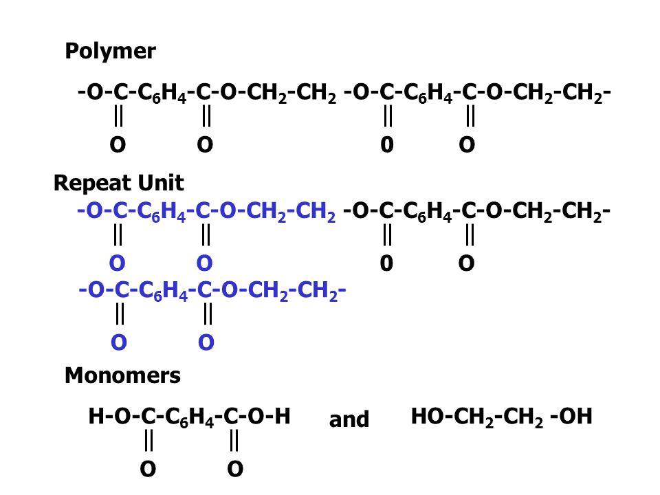 Polymer -O-C-C6H4-C-O-CH2-CH2 -O-C-C6H4-C-O-CH2-CH2- O O 0 O.