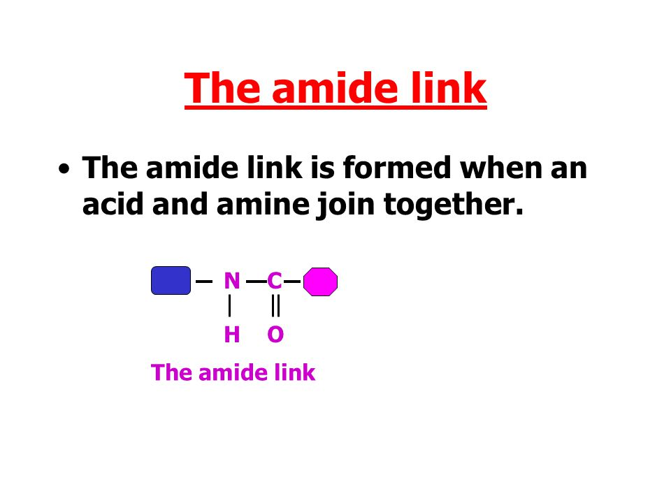 The amide link The amide link is formed when an acid and amine join together.