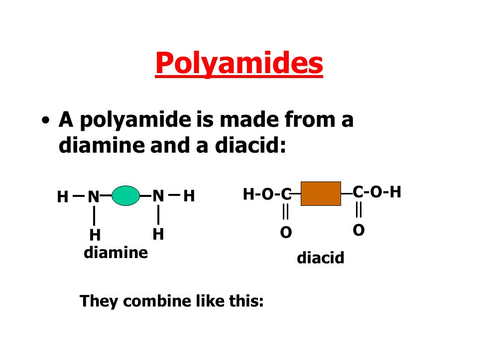 Polyamides A polyamide is made from a diamine and a diacid: C-O-H