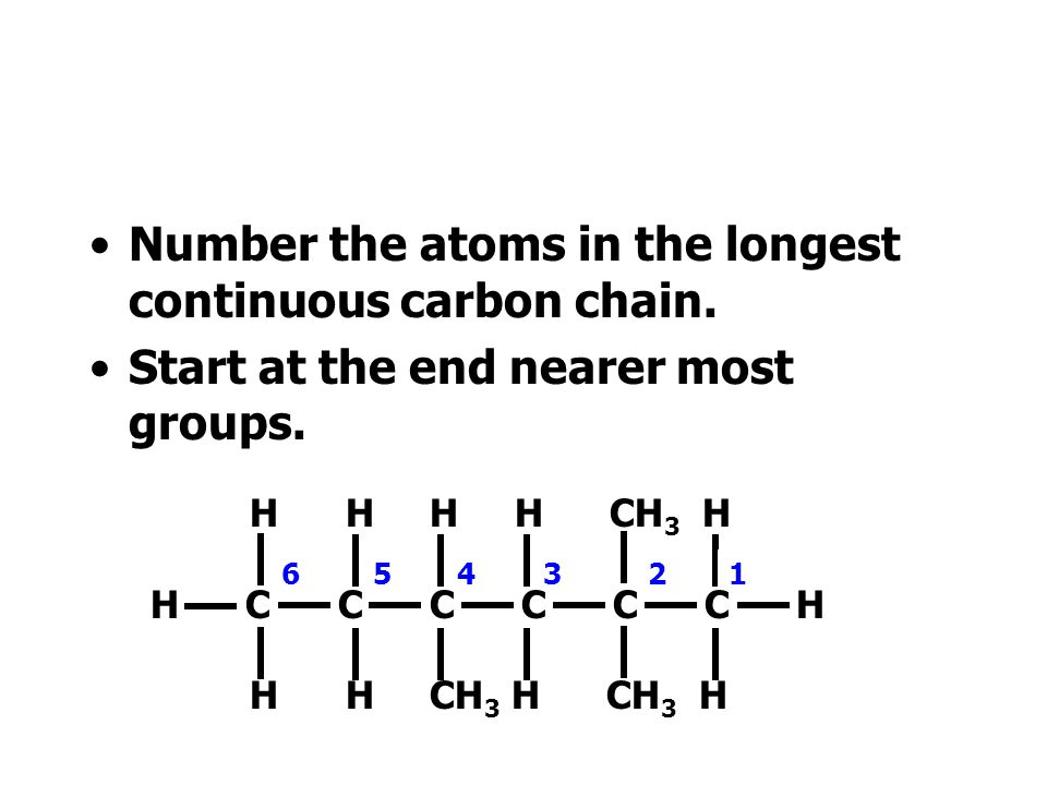 Number the atoms in the longest continuous carbon chain.