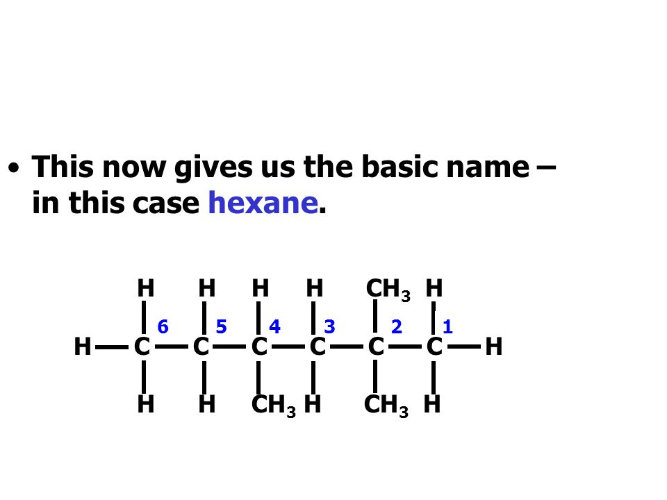 This now gives us the basic name – in this case hexane.