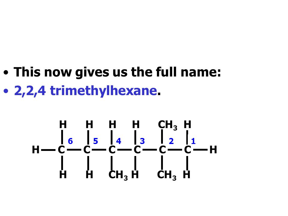 This now gives us the full name: 2,2,4 trimethylhexane.