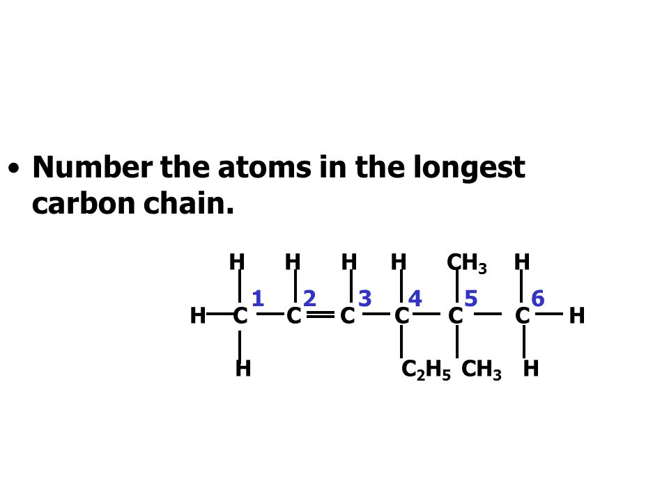 Number the atoms in the longest carbon chain.