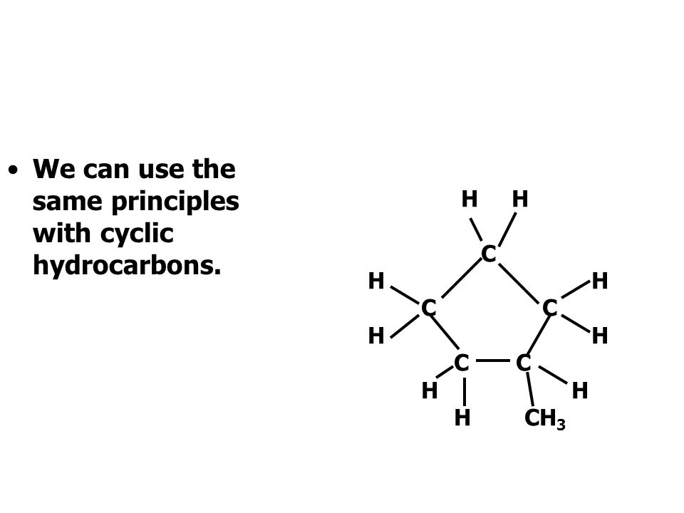 We can use the same principles with cyclic hydrocarbons.