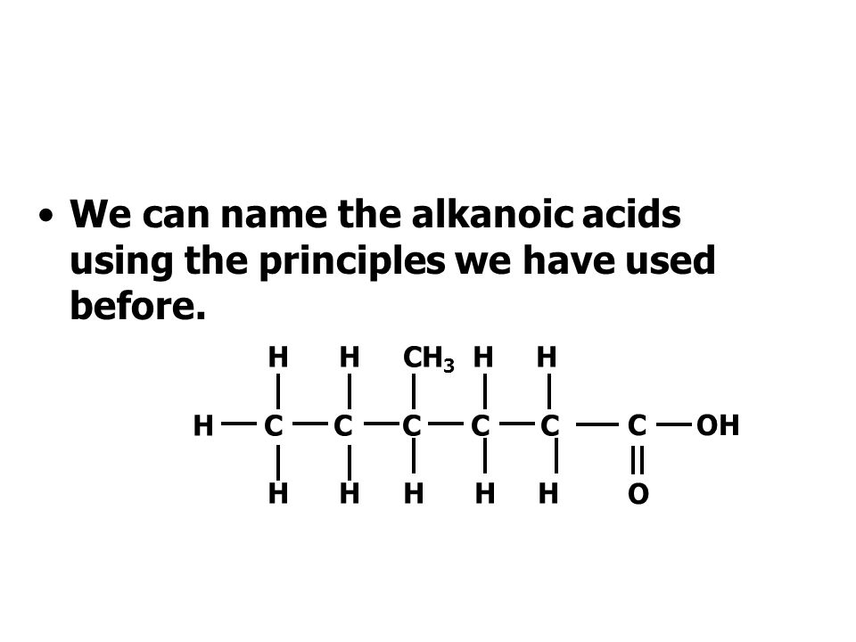 We can name the alkanoic acids using the principles we have used before.