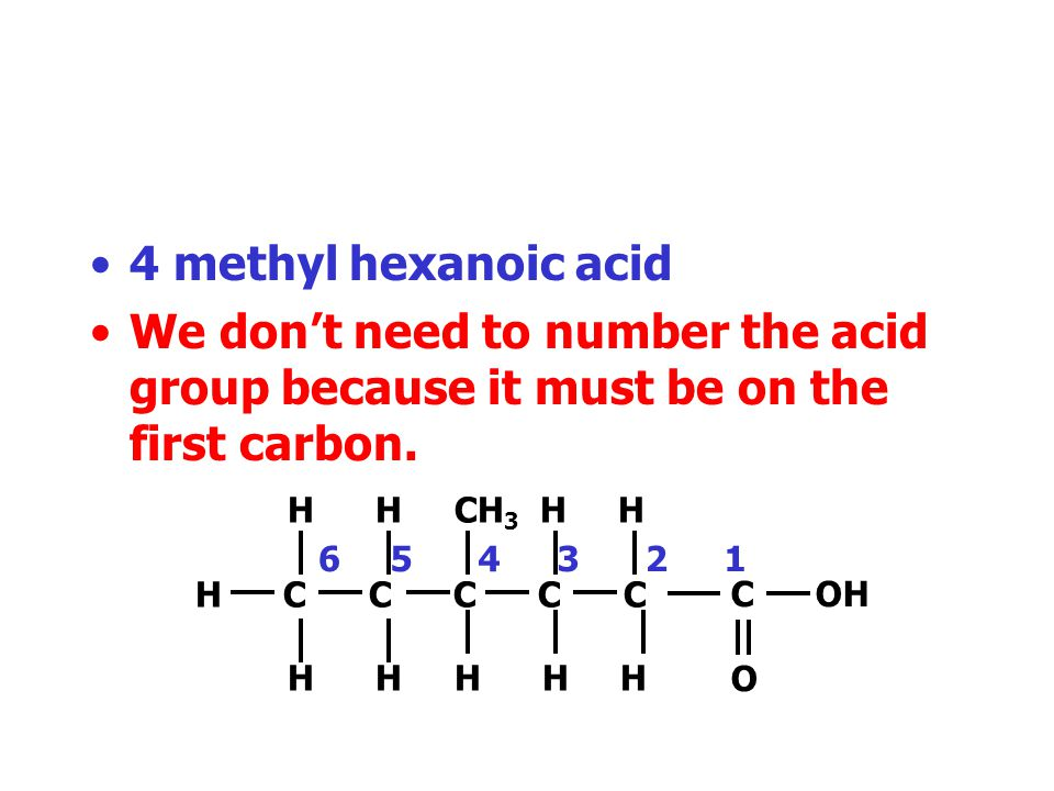 4 methyl hexanoic acid We don't need to number the acid group because it must be on the first carbon.