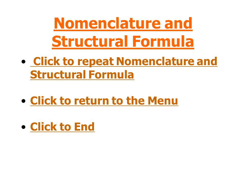 Nomenclature and Structural Formula