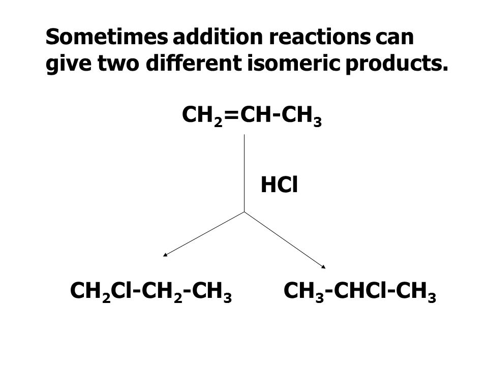 Sometimes addition reactions can give two different isomeric products.