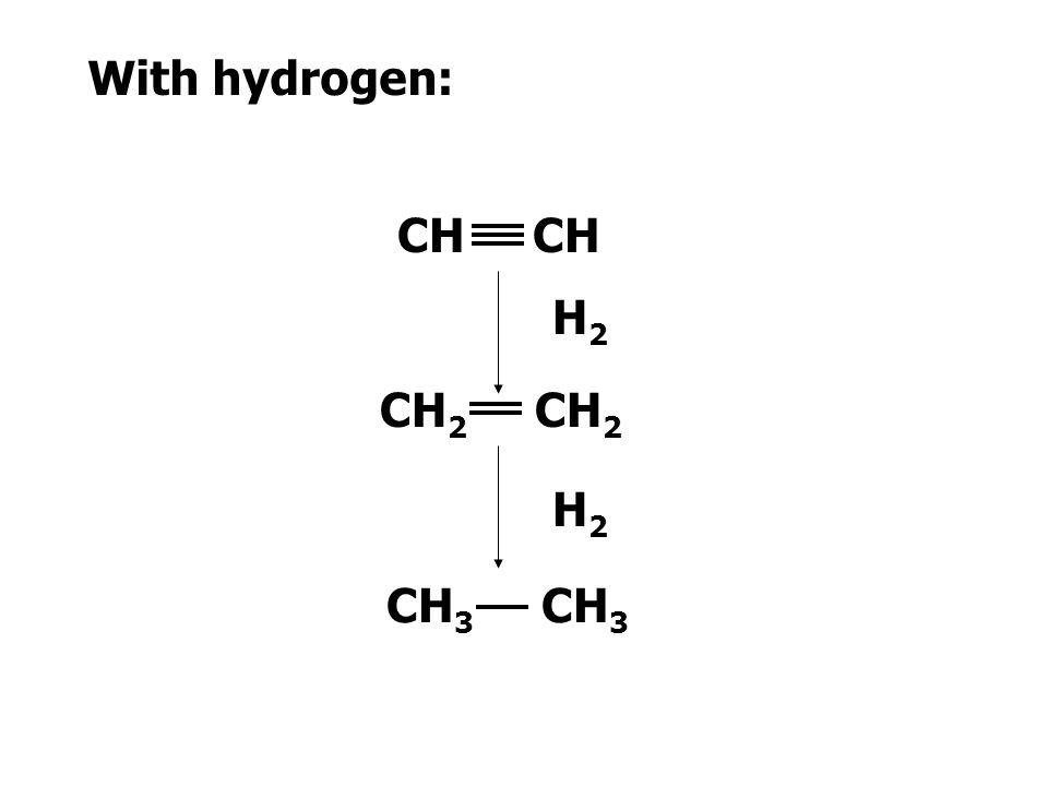 With hydrogen: CH CH H2 CH2 CH2 H2 CH3 CH3